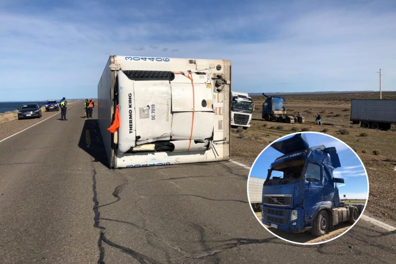 Un camión chileno volcó en la ruta N° 3: El viento lo levantó 2 metros