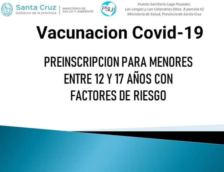 Ya está activo el link para solicitar la vacunación de adolescentes con factores de riesgo
