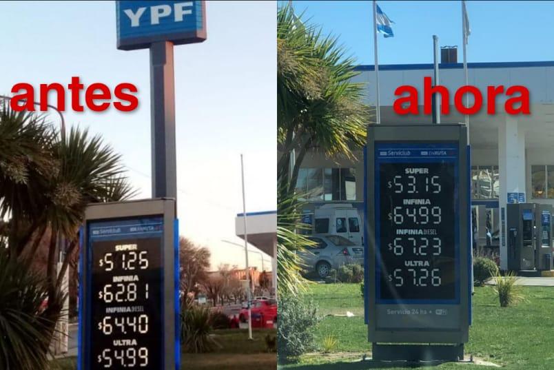 En Caleta Olivia el aumento de las naftas YPF supero el 3,5% anunciado: el ajuste era diferencial por región del pais
